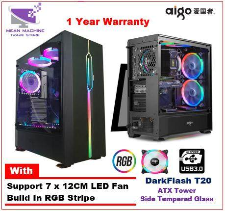 Aigo Darkflash T20 Full Window Side Tempered Glass ATX RGB Gaming Chassis Malaysia