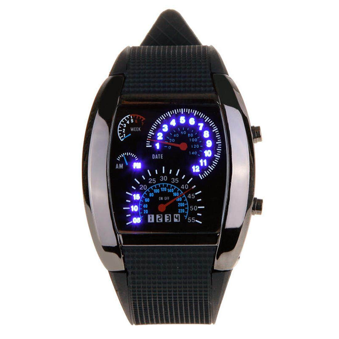 New Meter Dial Black Rubber Strap Blue Flash Dot Matrix LED Racing Watch Malaysia