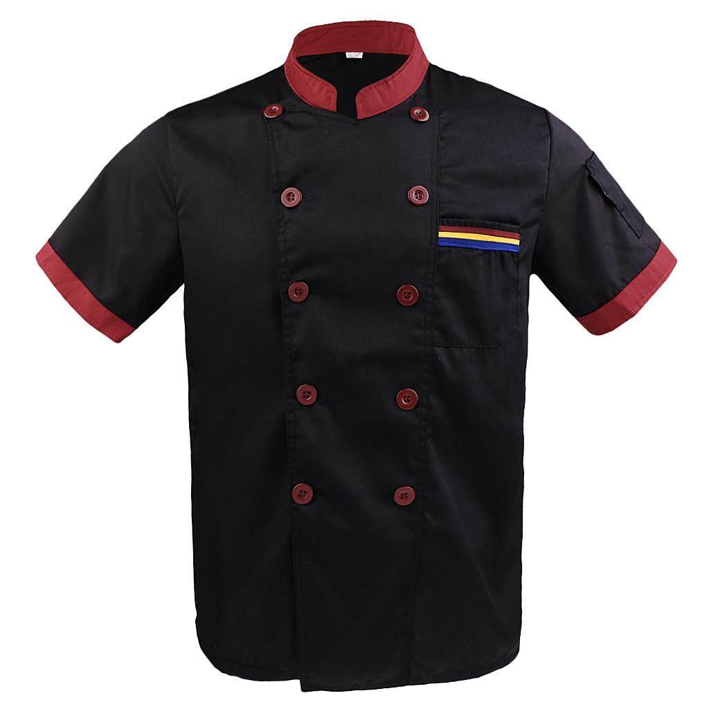 MagiDeal Men Women Chef Uniform Double Breasted Cook Jacket Coat Short Sleeve M Black