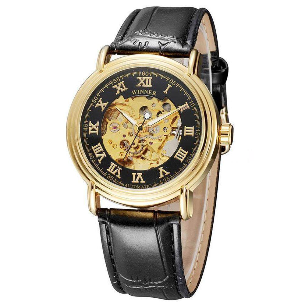 WINNER Men Women Gold Skeleton Mechanical Leather Sport Wrist Watch Black Malaysia