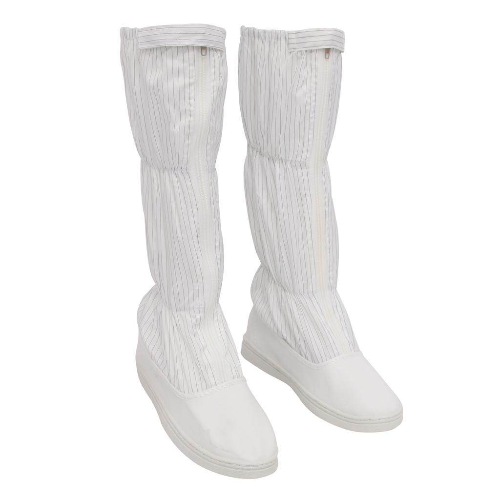 Miracle Shining ESD High Top Boots Nonslip Anti-static Clean Room Working Shoes 255mm White