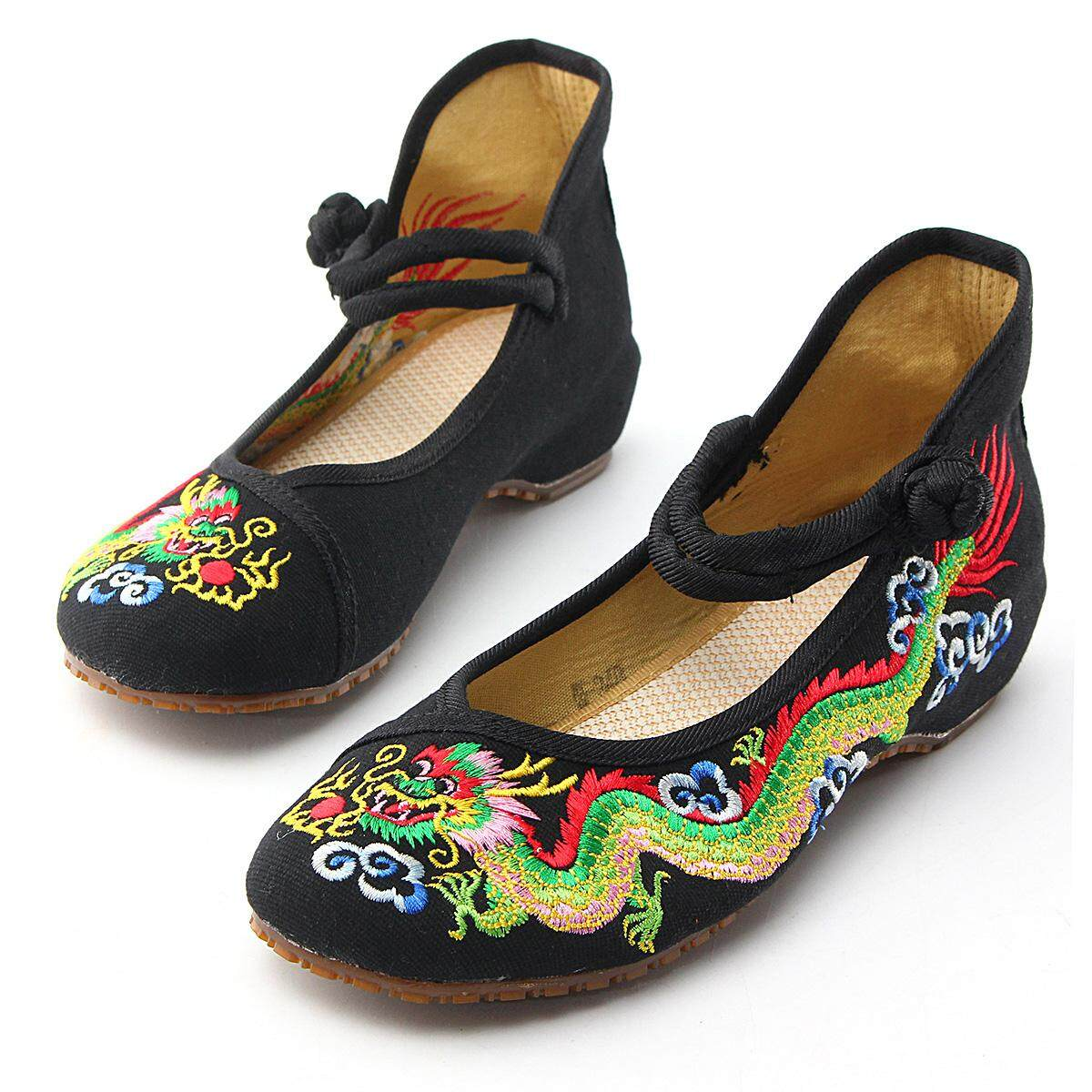 88467d57085 New Retro Women Chinese Embroidered Dragon Flat Shoes Sandals Loafer Mary  Janes