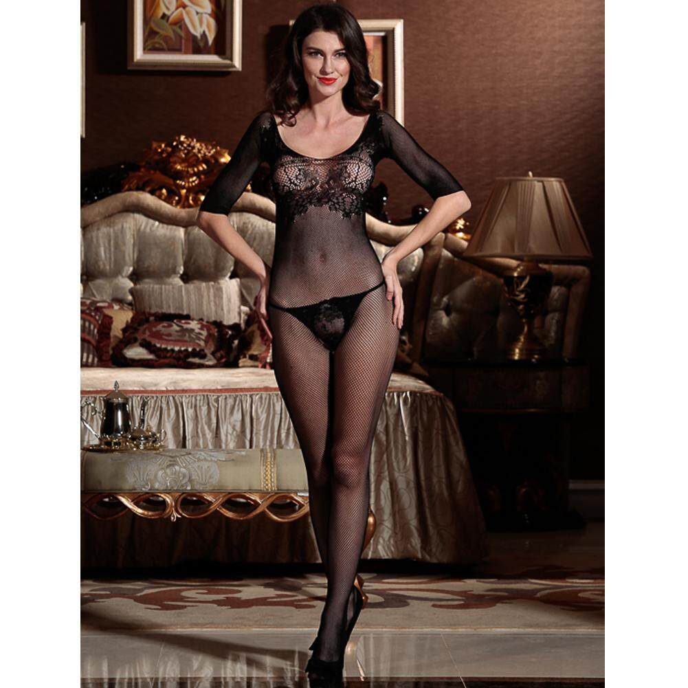 ef8a63427 Sexy Women Crotchless Body Stockings Sheer Hollow Out Mesh Half Sleeves  Bodystocking Nightwear Sleepwear