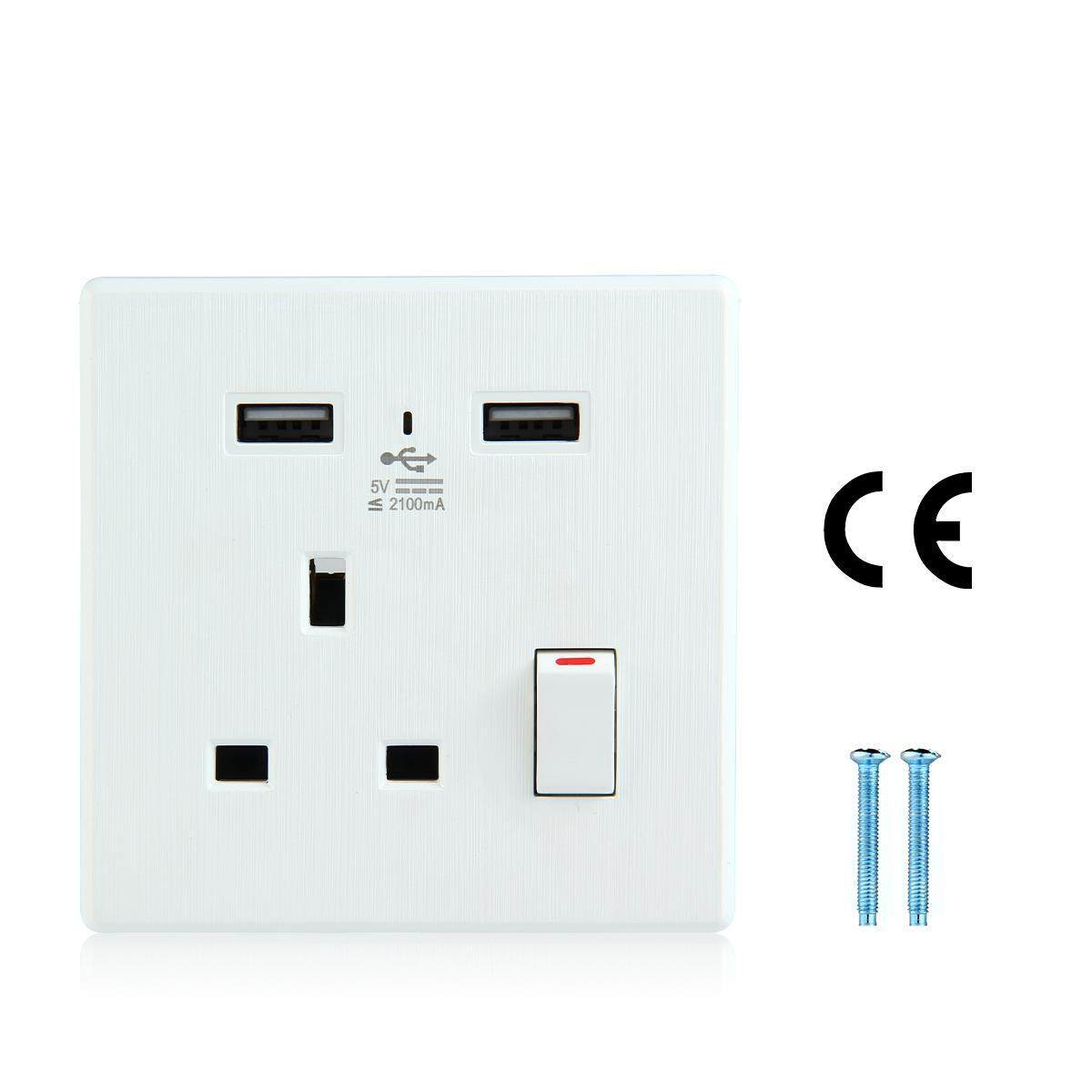 niceEshop (UK Plug)1 Gang 13A Switched Socket With 2 USB Charger Ports LED Light- White