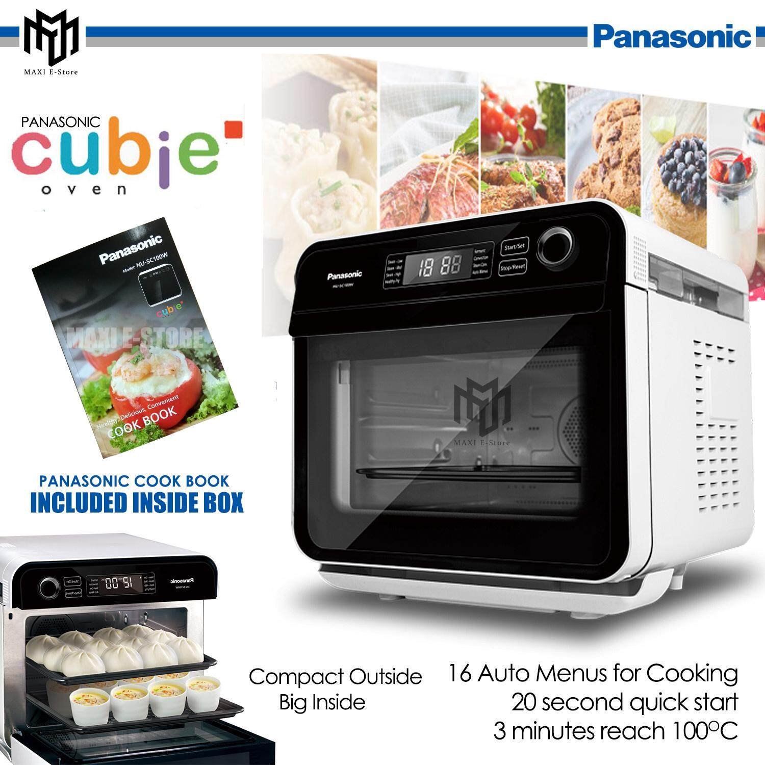 Panasonic Cubie Steam Convection Oven NU-SC100W (White)