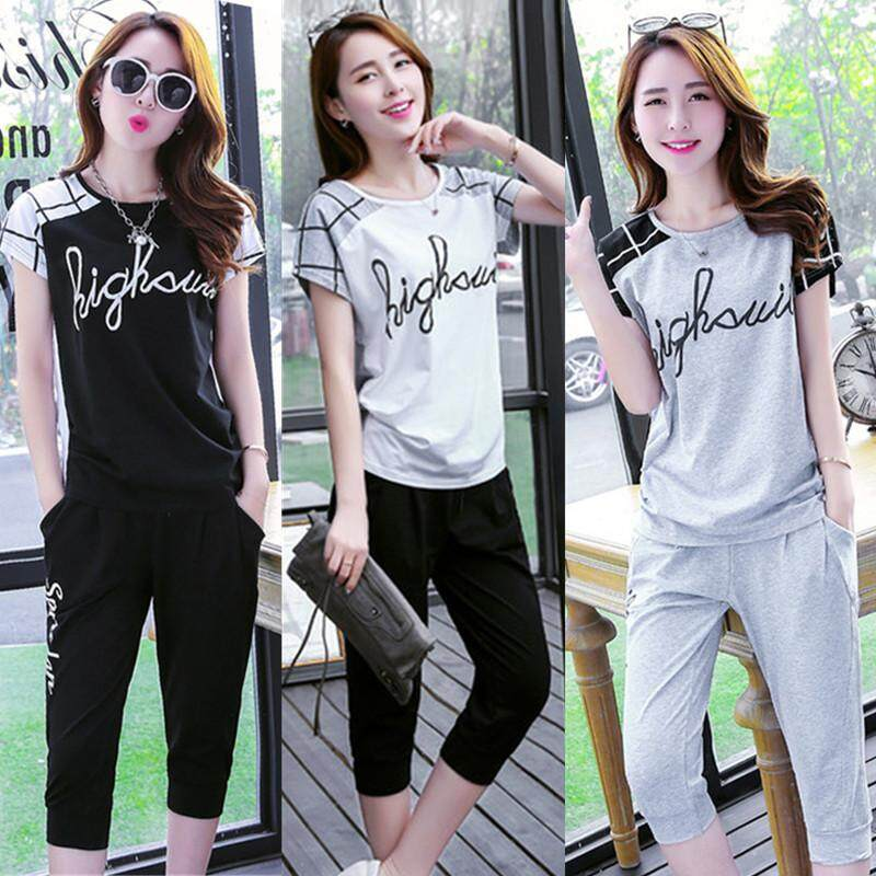 03765db0 Two Piece Set Women New Casual Sports Suit Summer Women's Running Short  Sleeved T Shirt and