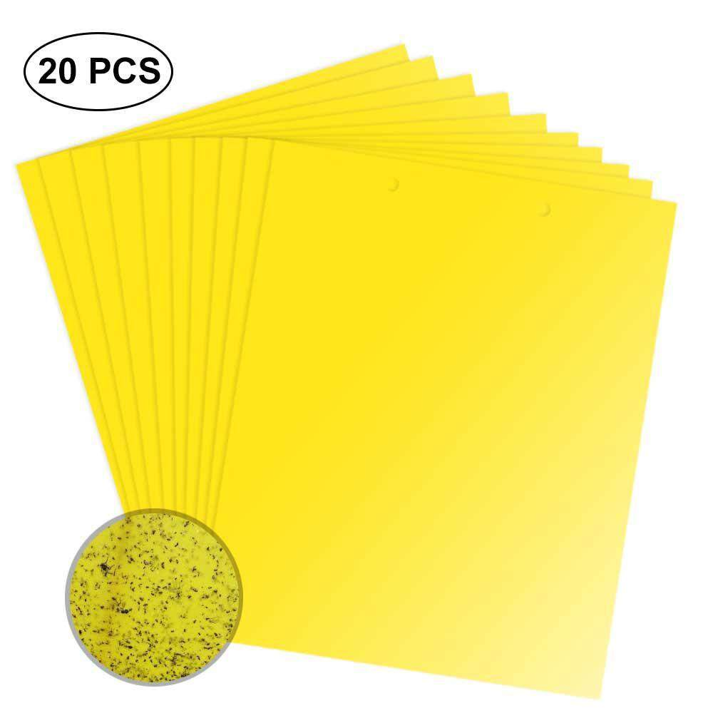 OrzBuy 20Pcs Double-Sided Insect Sticky Traps,Yellow Sticky Fly Trap Board Strong Insecticide Bait Sticky Insect Board For Flying Plant Insect Like Fungus Gnats, Whiteflies, Aphids, Leafminers