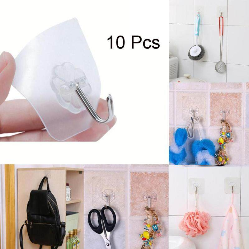 Hotilystore 10x Strong Transparent Suction Cup Sucker Wall Hooks Hanger For Kitchen Bathroom