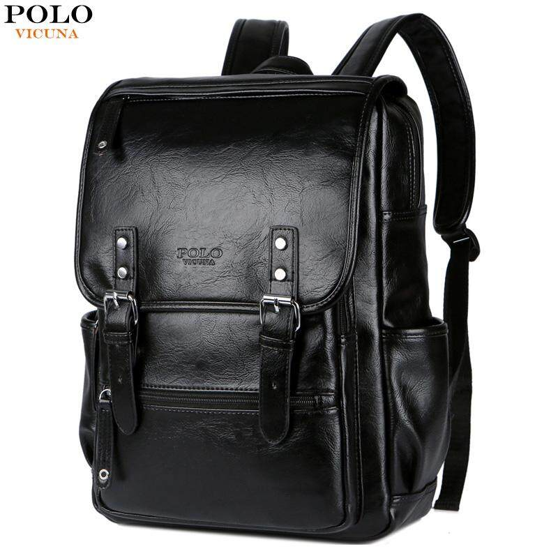 425bd35c54 ... in Men Bags. VICUNA POLO Large Black Leather Backpack School Bags For  Adolescent Boys 15inch Laptop Backpack Teenager Fashion