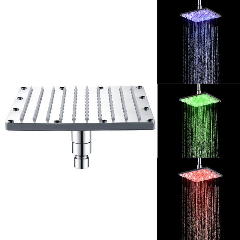 Chrome LED Shower Head Temperature Light Ceiling Mount Stainless Steel Square Sprayer
