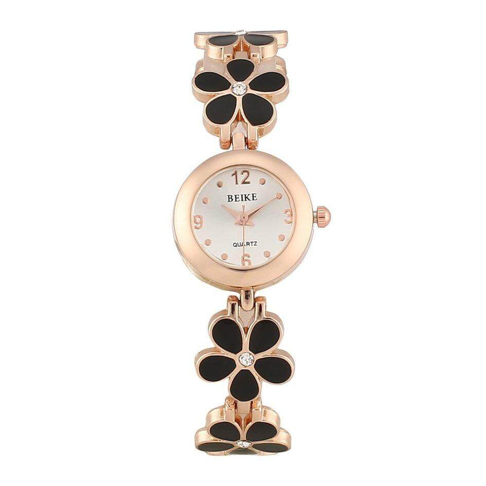 OH Korean Fashion Daisies Flower Rose Gold Bracelet Wrist Watch Women Gift (Black) Malaysia