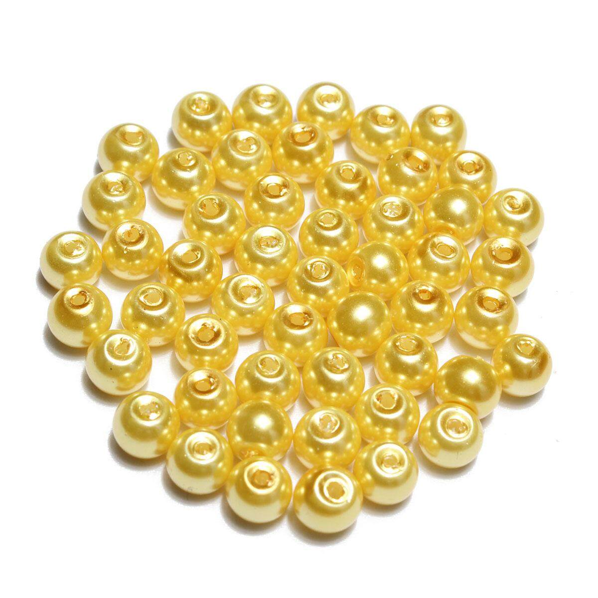 Wholesale Lots Glass Pearl Round Spacer Loose Beads Yellow 4mm 100pc By Moonbeam.