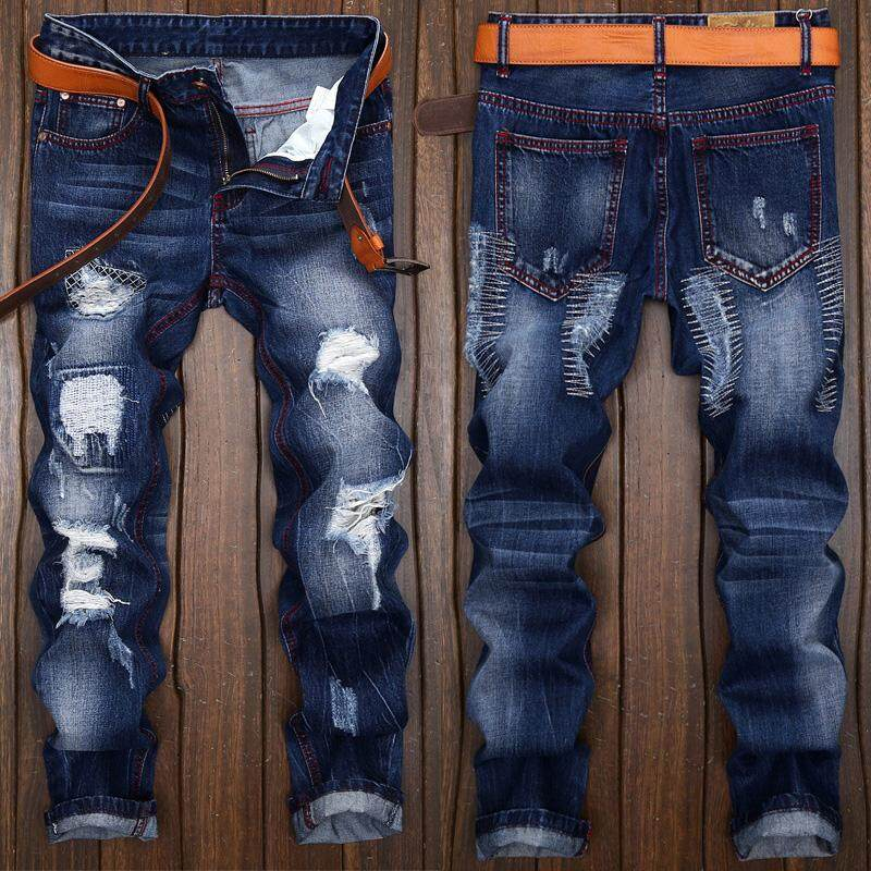 Plus Size 28-42 Mens High Quality Patch Jeans Ripped Jeans For Men Holes Pants Denim Trousers- Dark Blue By Qianhao Store.