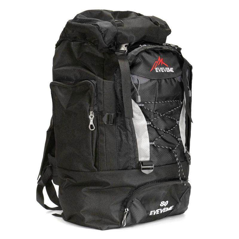 EVEVEME 80L Load Waterproof Rucksack Backpack Bag Luggage Outdoor Hiking  Camping Travel Black 01aa5ce4d0