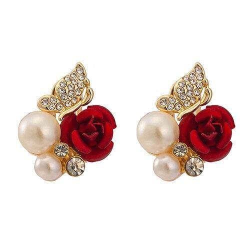 b7a561558 BODHI Women's Fashion Red Rose Flower Faux Pearl Decor Ear Stud Earrings  Jewelry Gift
