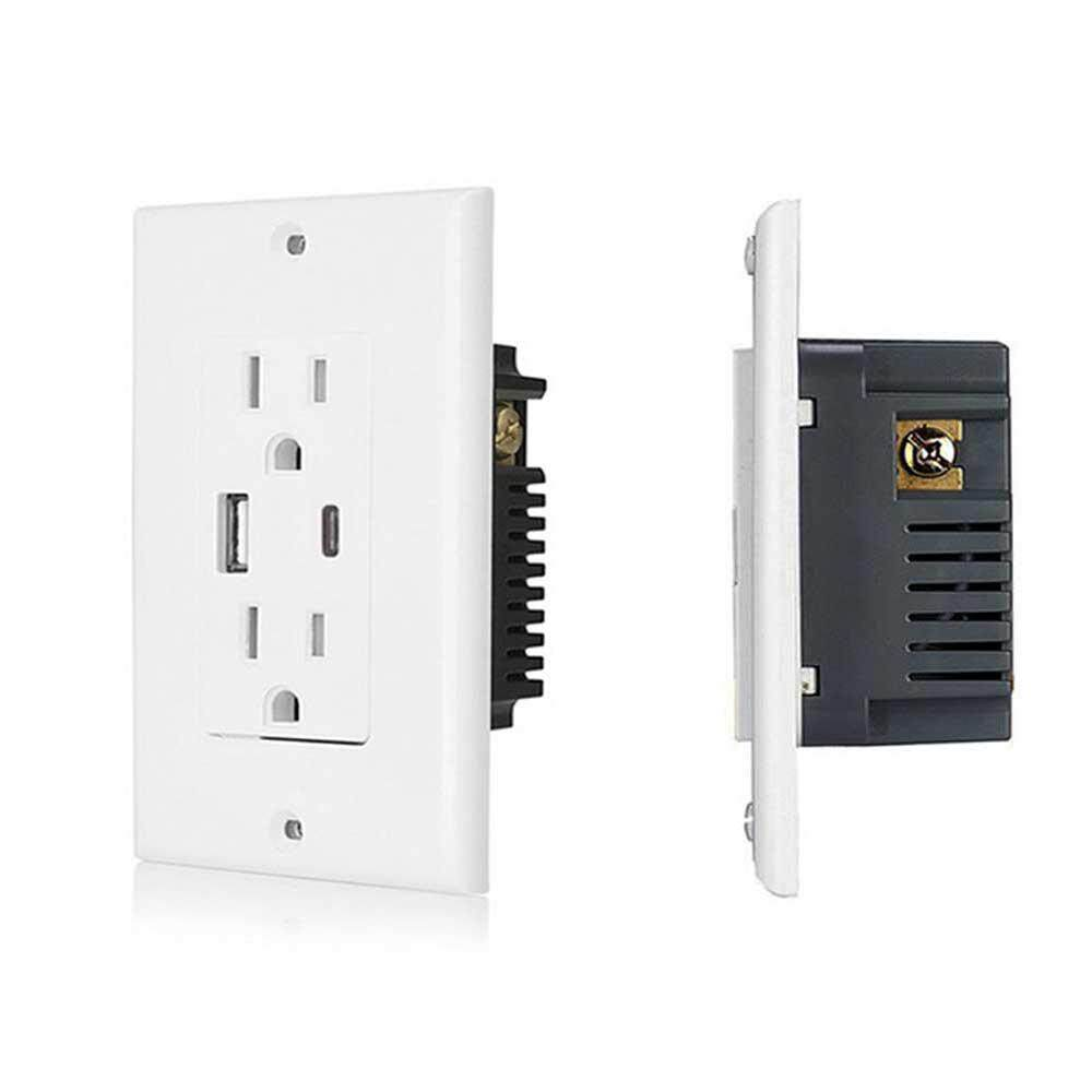 Womdee USB Outlet Receptacle , Outlet with USB High Speed Charger 5V/4A High Speed USB Charger Receptacle , 15A/20A Tamper Resistant Wall Socket USB Outlet,Screwless Wall Plate, UL Listed,White