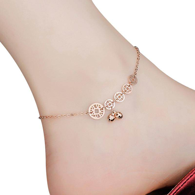Bzy Fashion Titanium Steel Rose Gold Copper Line Bell Anklet Women Foot Ornament By Beautyzy.