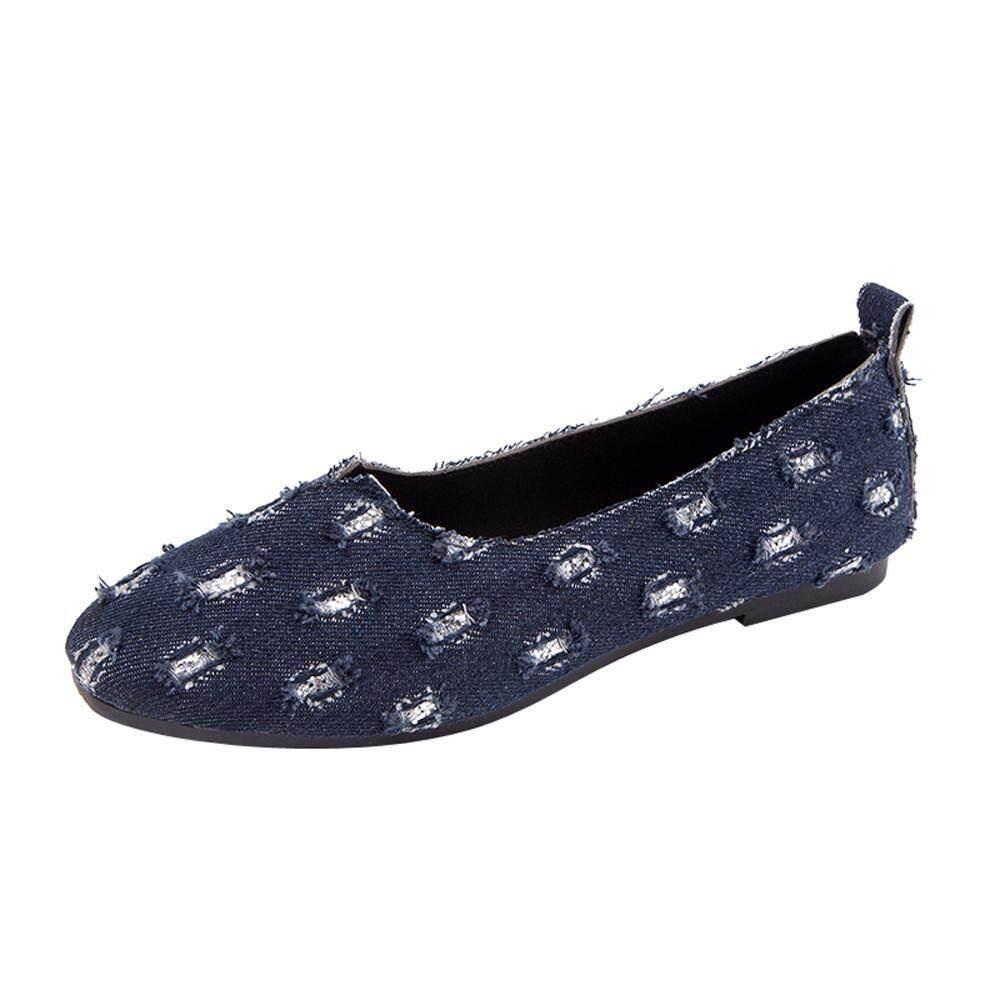 (audestore)_women Round Toe Denim Slip-On Shallow Shoes Flat Single Shoes Peas Boat Shoes By Audestore.