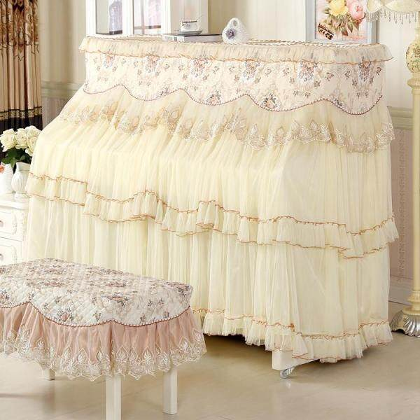Piano Cover Full Cover All Edges Included European Style Cotton Cloth Simple Piano Set Music Stool Cover Thick Fabric Piano Dust Cover Malaysia