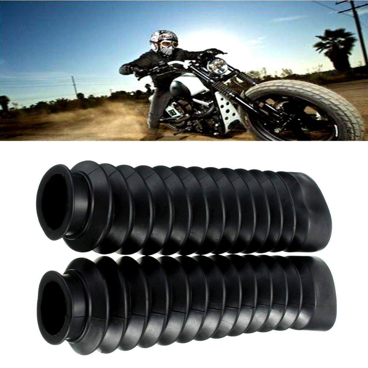 2pcs Front Fork Motorcycle Black Rubber Boots Dust Jacket Cover 200x50x38mm By Freebang.