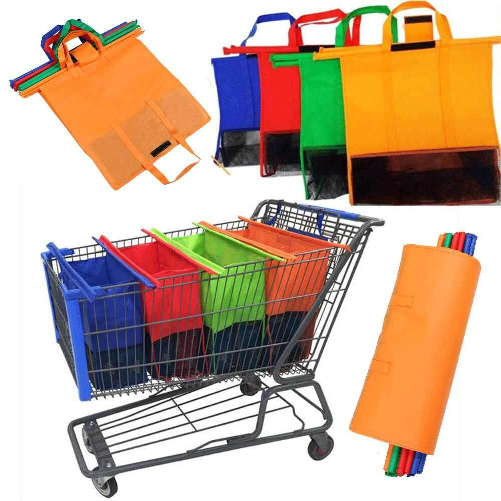 Stay 4pcs/set Cart Trolley Supermarket Shopping Bag Grocery Grab Shopping Bags Foldable Tote Eco-Friendly Reusable Supermarket Bags By Stay.