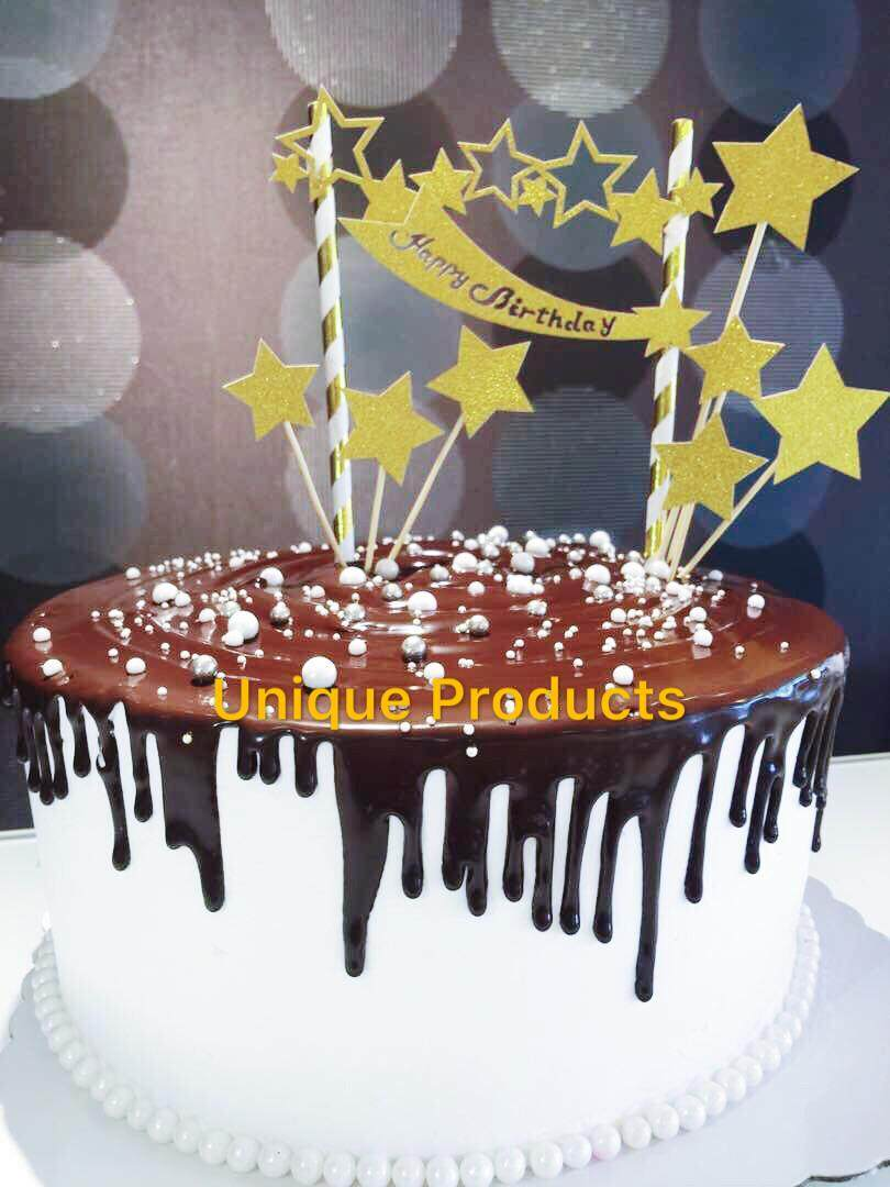 Cake Topper Gold Star Happy Birthday Decorations