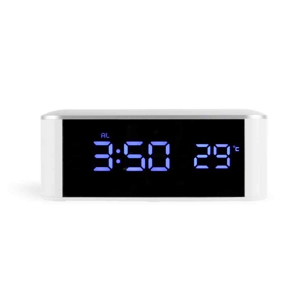 TOMATOLL USB Digital Alarm Clock LED Dimmable Night Light Thermometer Mirror