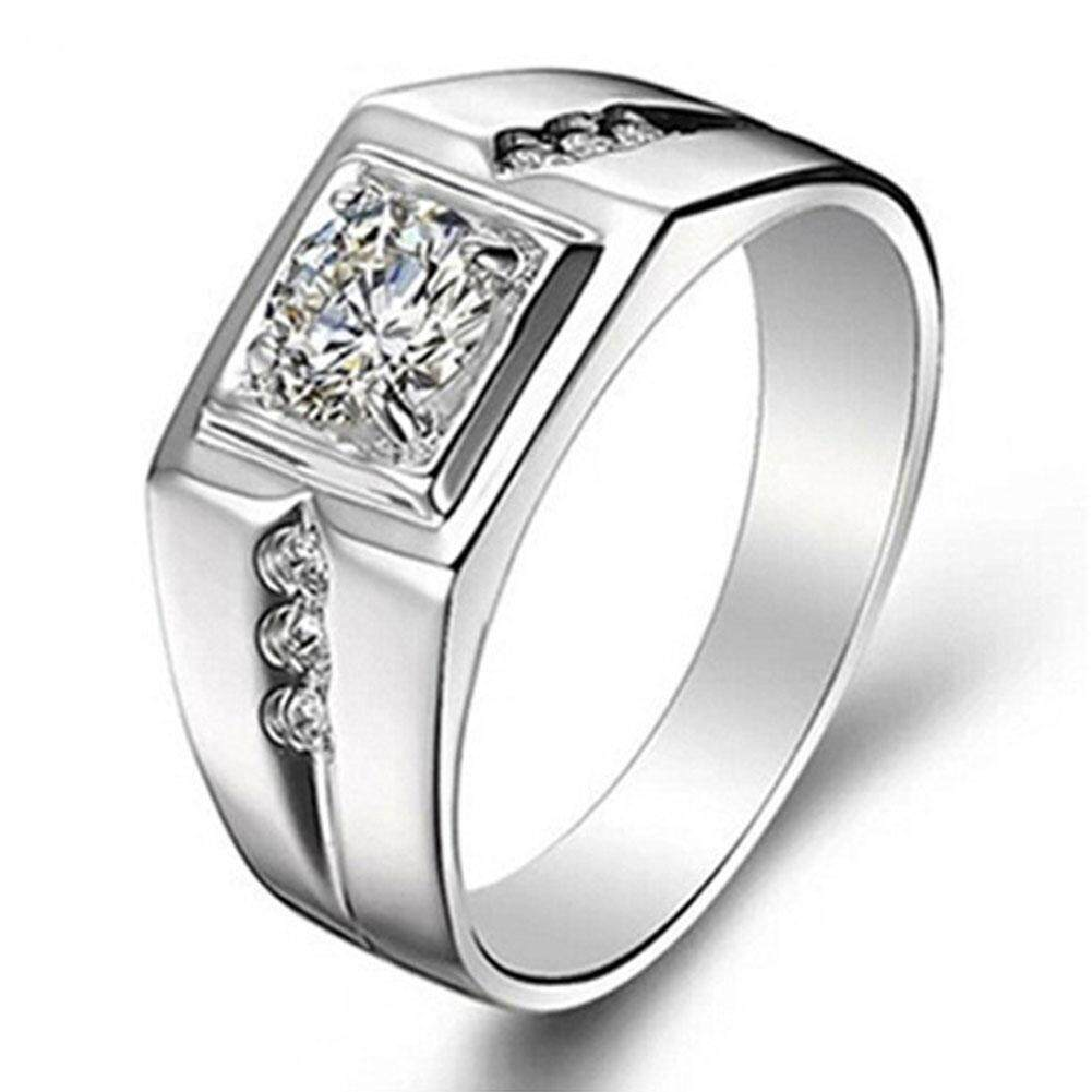 Boom Fashion White Copper Diamond Silver Plating Engagement Ring For Men