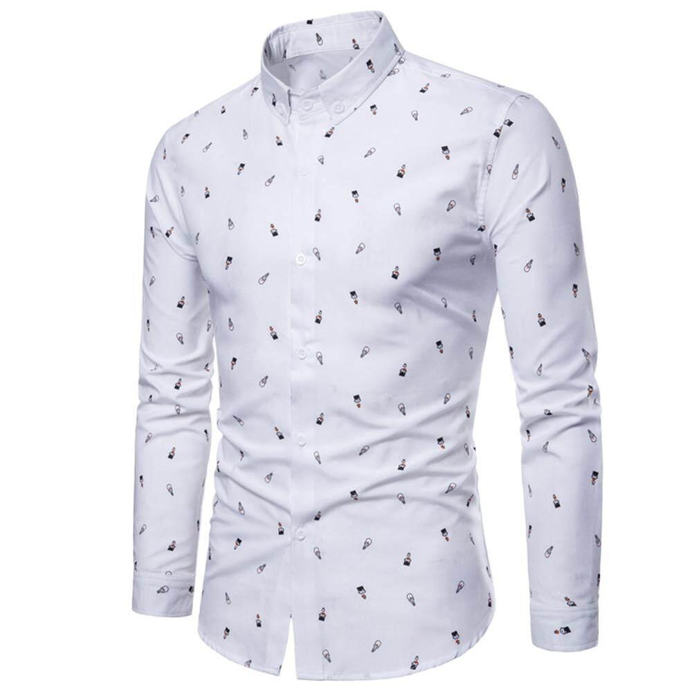 c495bed83e51 JENESTROTRES Men s Autumn Casual Fashion Slim Fit Cotton Print Long Sleeve  Shirt Top Blouse