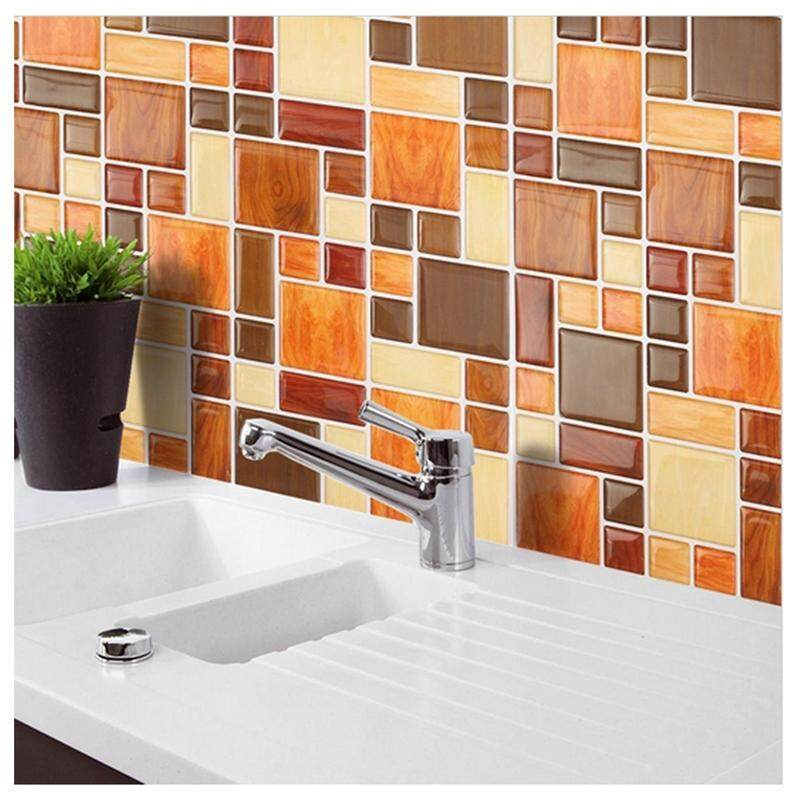 Waterproof Self Adhesive Mosaic Brick Wall Sticker Backsplash Wallpaper For Bathroom Kitchen