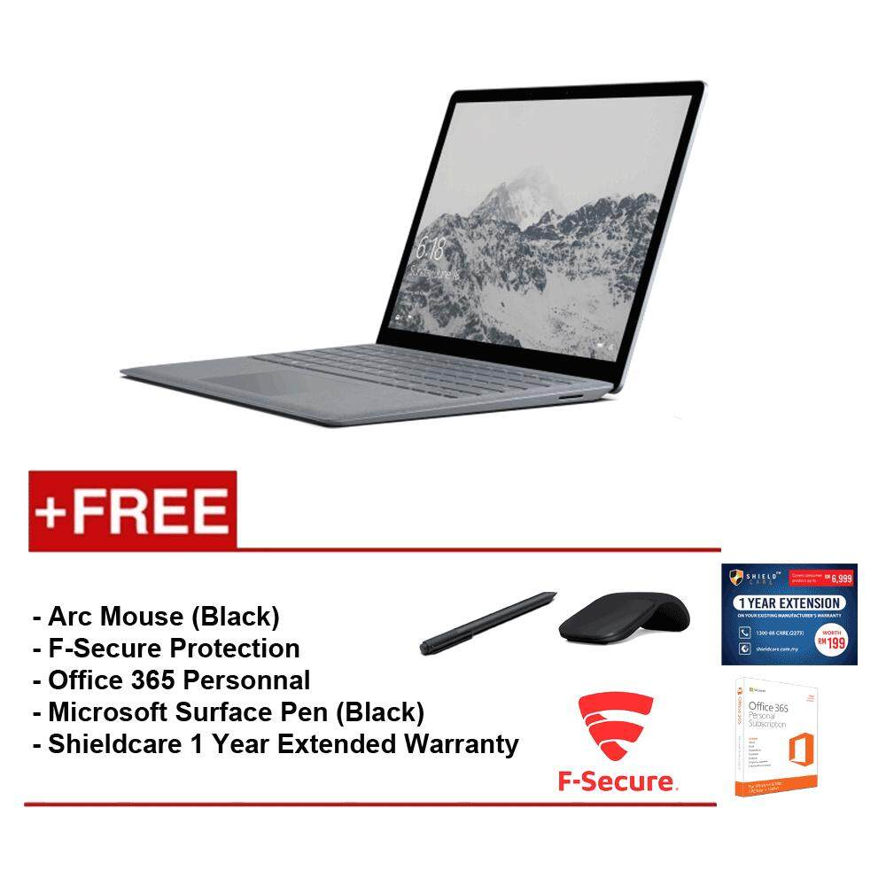 Surface Laptop Core i5/8GB RAM - 256GB + Shield Care 1YR Ext Wty + F-Secure End Point Protection + Off 365 Personal + Arc Mse Blk + Microsoft Surface Pen Black Malaysia