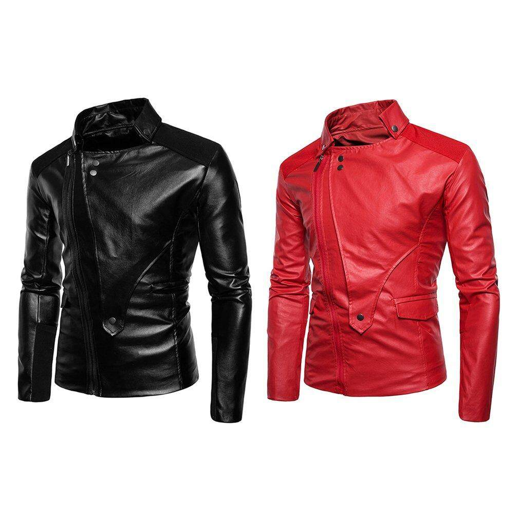 Mens Leather Jackets For The Best Prices In Malaysia Jaket Kulit Black Bikers Style Spring Long Sleeves Cable Stayed Zipper Stand Collar Solid Color Coat