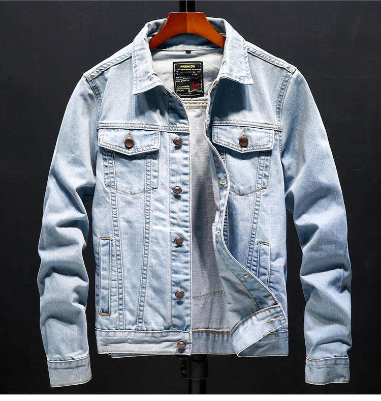 Fashion Street Pockets Ripping Cotton Letters Single Breasted Long Sleeve Light Blue Cowboy Men Denim Jacket By Dhfashion.