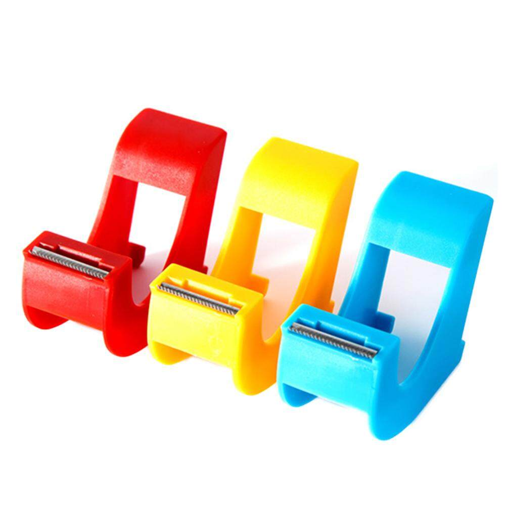 Practical Plastic Adhesive Tape Dispenser Office Desktop Double Sided Adhesive Tape Holder with Tape Cutter