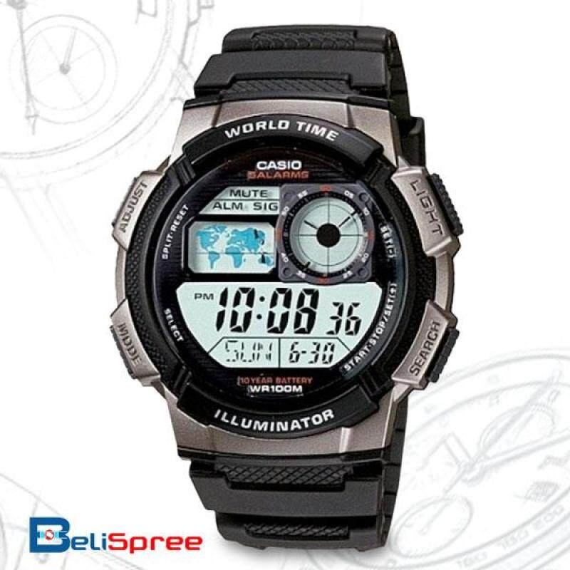 Casio World Time Analog Mens Illuminator Alarm Chronograph Watch AE-1000W-1BVDF Light Gray Malaysia