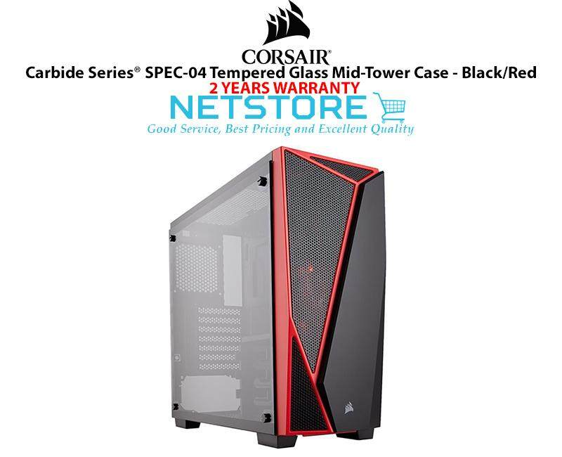 Corsair Carbide Series SPEC-04 TG Tempered Glass Mid Tower PC Desktop Case Black Red CC-9011117-WW Malaysia