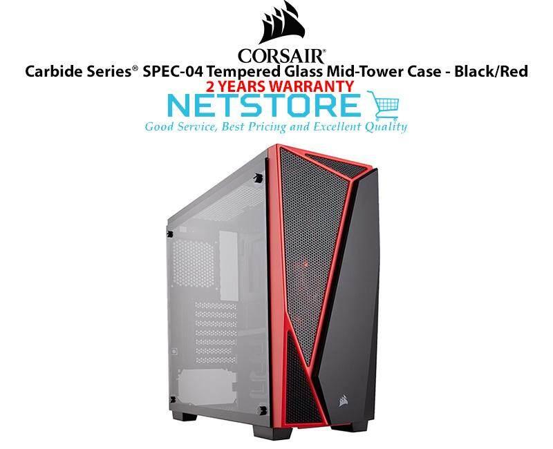 Corsair Carbide Series SPEC-04 TG Tempered Glass Mid Tower PC Desktop Case Black Red CC-9011117-WW Malaysia