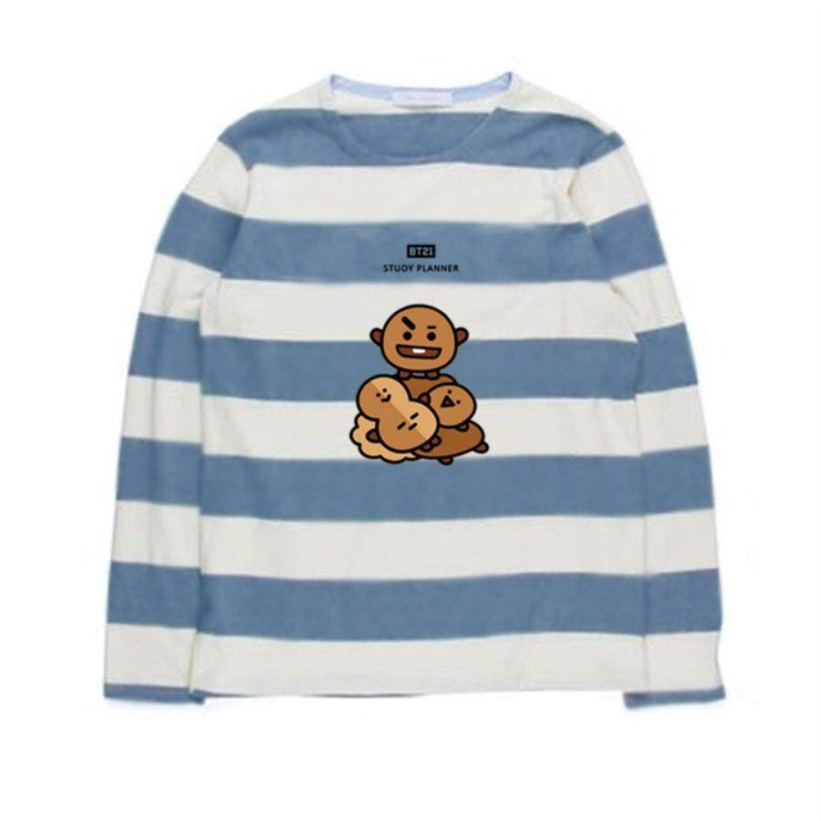 a2daa3d86e1 Bts Bullet Proof Youth League Cartoon Characters Printing Round Neck Sweater  Stripes Loose Korean Version Of