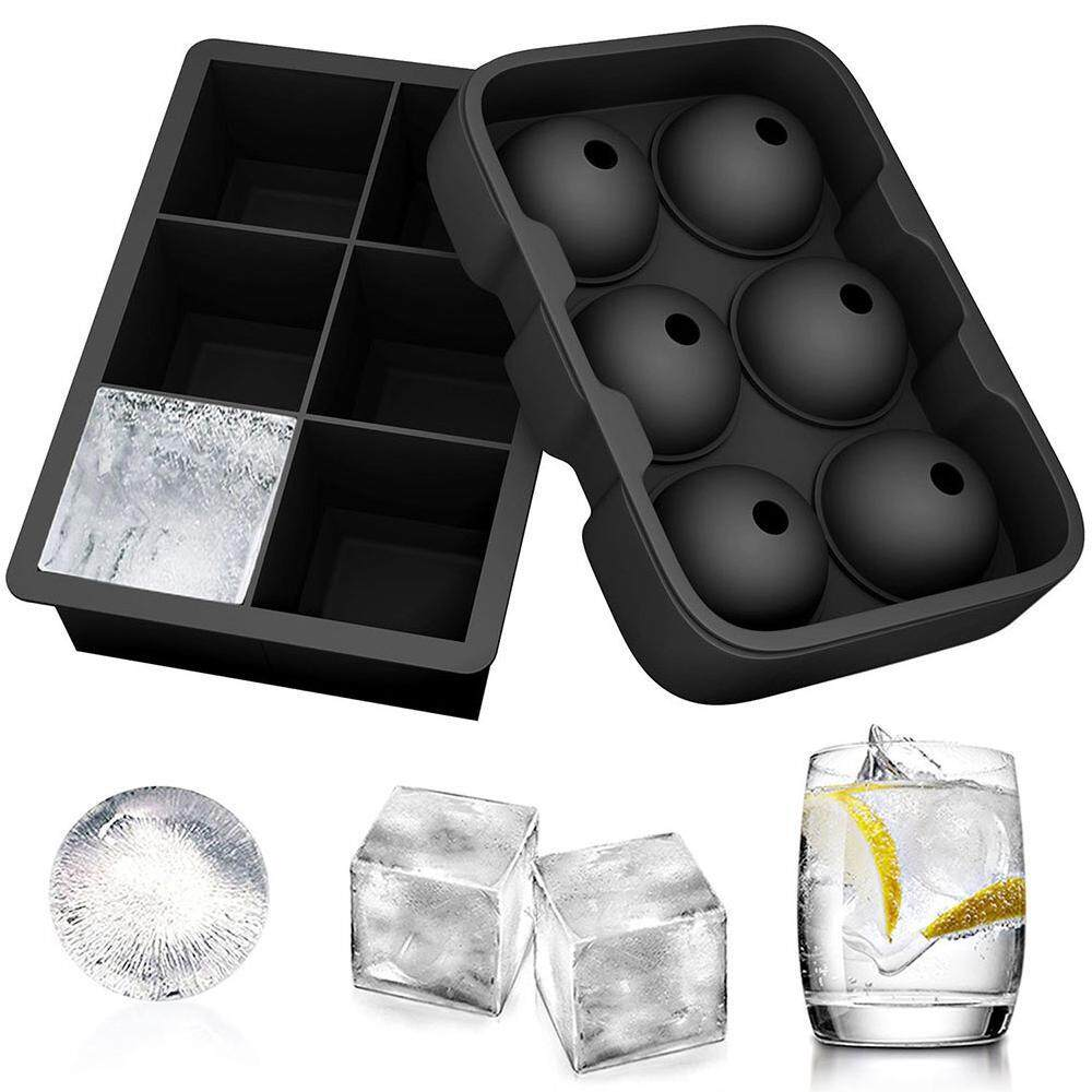 Queo New 2 Molds Sumpri Sphere Ice Mold & Big Cube Tray Novelty -Silicone Ball Maker By Queo.