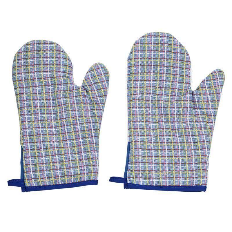 2Pcs Cotton Oven Gloves Heat Resistant miniwave Oven Kitchen Blue