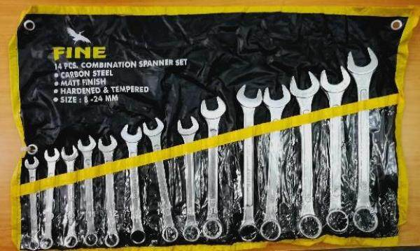 14PCS 8-24MM INDIA COMBINATION SPANNER WRENCH SET SOCKET NUT