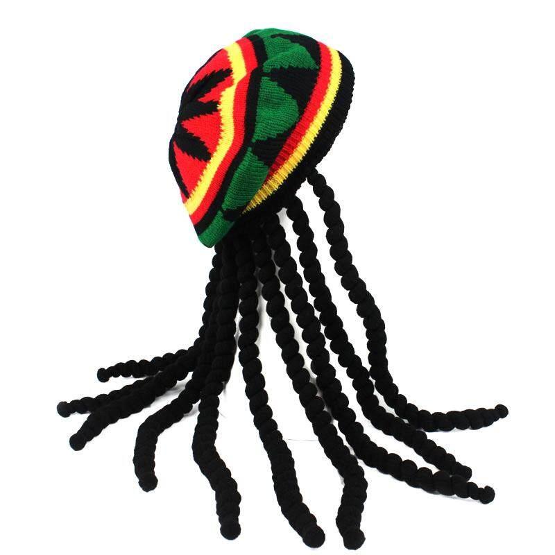 aa8002e1729 Betes Knitted Wig Braid Hat Jamaican Beanie Head Wear Tassel Hair  Accessories