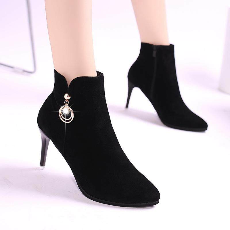 86c4f4e4cb59 2018 Europe and America autumn and winter new fashion short tube Martin  boots side zipper fine