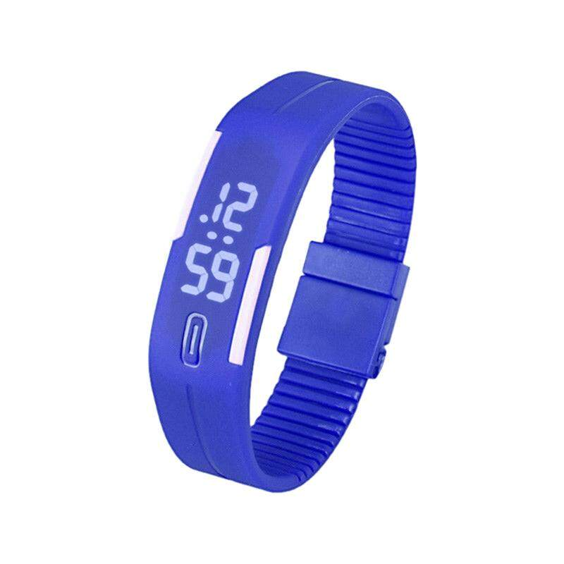 Sports Silicone Rubber White LED Digital Watch Bracelet Men Women Blue Malaysia