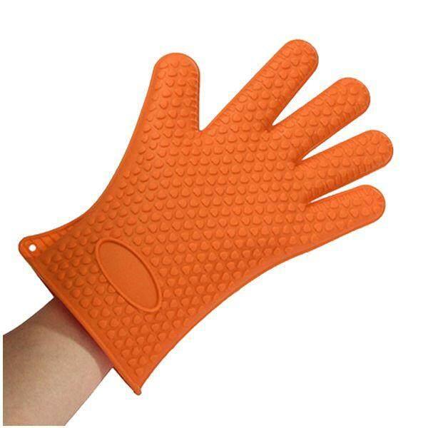 Heat Resistant Silicone Glove Oven Pot Holder BBQ Cooking Glove Orange