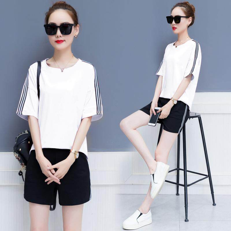 ae12db09763 Summer New Loose T-shirt Shorts Women s Two-piece Sports Suit Casual