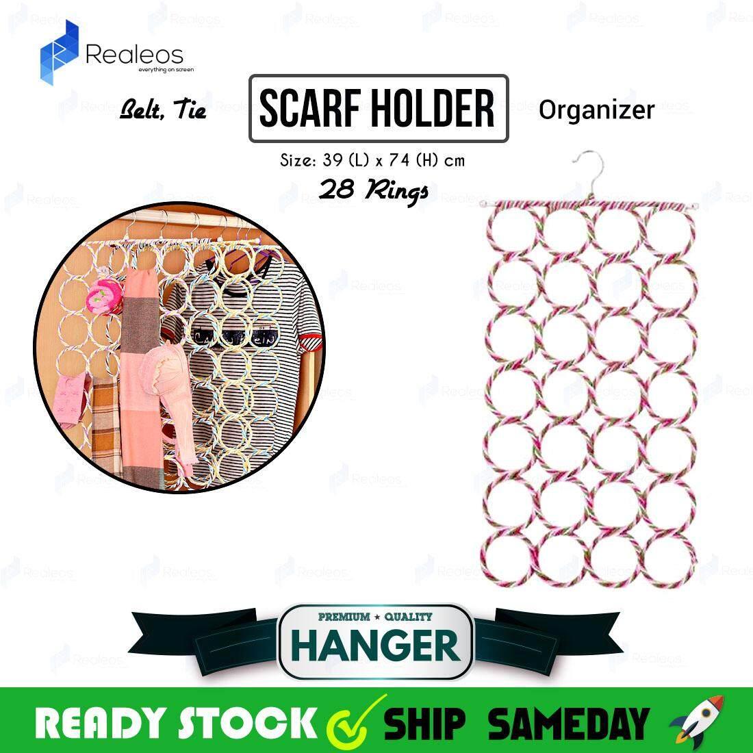 Realeos 28 Rings Holes Scarf Belt Tie Hanger Holder Organizer Storage - R510
