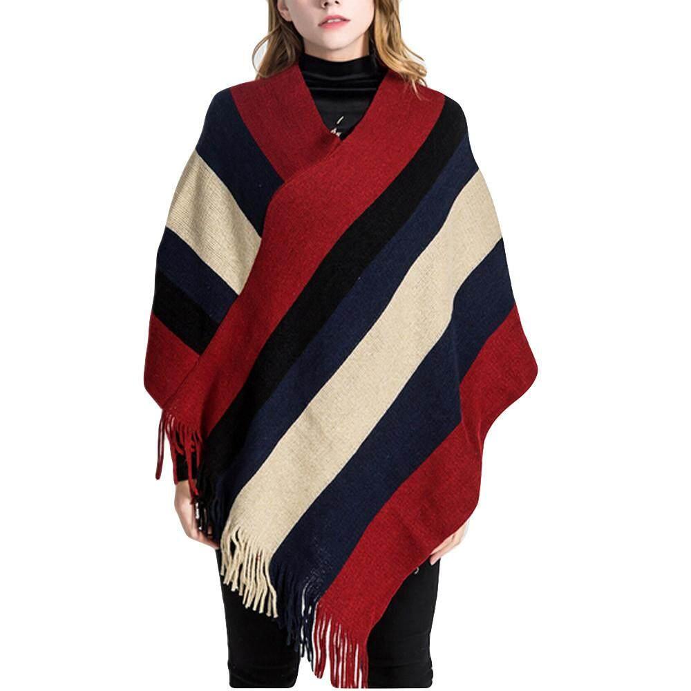 994740682f1 Aiipstore Fashion Women Blanket Stripe Splicing Pattern Coat Wrap Cozy Shawl