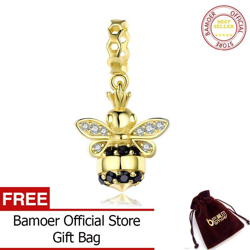 a0d92bdb3 BAMOER Free Shpping 100% 925 Sterling Silver September Queen of Bee Gold  Color Bee Pendant
