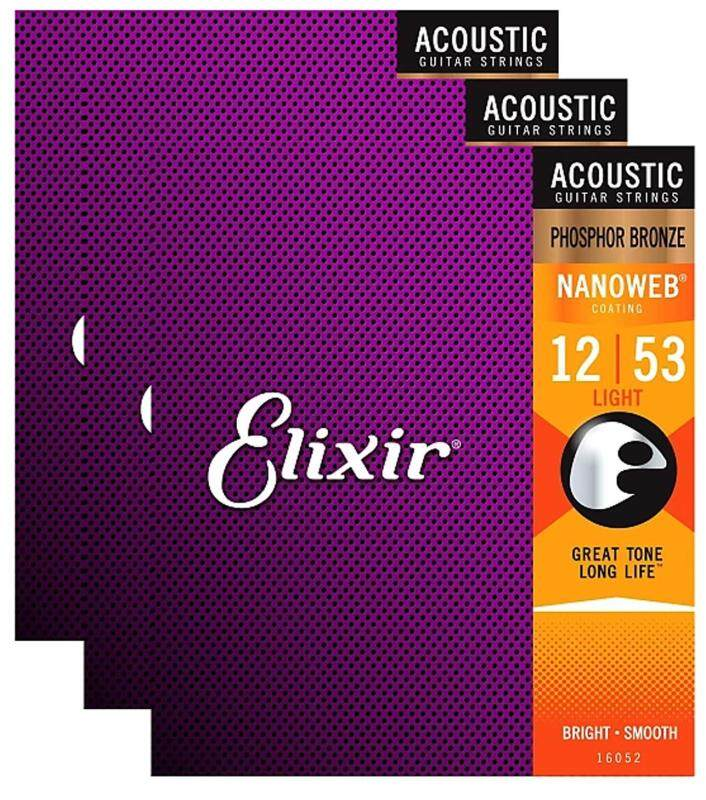 Elixir 16052 PHOSPHOR BRONZE WITH NANOWEB COATING Acoustic Guitar Strings 12-53 Malaysia